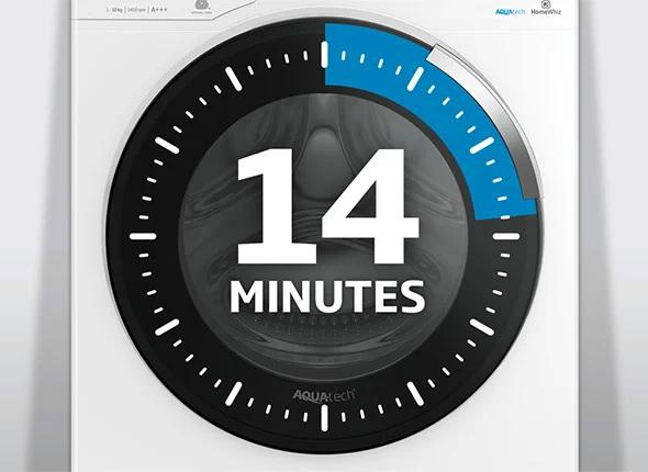 برنامه شستشوی سریع در 14 دقیقه در ماشین لباسشویی بکو